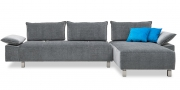 ALESSIA mit Armlehne BELUGA - 2,5 Platz Sofa mit Longchair im Stoff Chivasso Chameleon grau