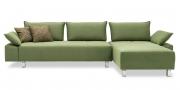 ALESSIA mit Armlehne BELUGA - 2,5 Platz Sofa mit Longchair im Stoff S & V Like Suede grün