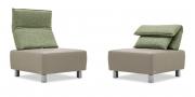 BONO - Sessel in Stoff S&V Nordli grün beige meliert und Leder Jumbo kitt taupe
