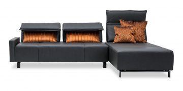 BONO - 2,5 Platz Sofa mit Longchair in Leder Club anthrazit