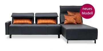neues Modell BONO - 2,5 Platz Sofa mit Longchair in Leder Club anthrazit