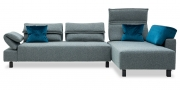 BONO - 2,5 Platz Sofa mit Longchair in Stoff Mercis Duffy graublau