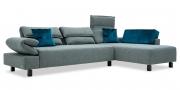 BONO - 2,5 Platz Sofa mit Longchair in Stoff Mercis Duffy graublau und zierkissen in Samtblau