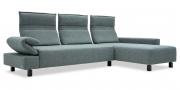 BONO - 2,5 Platz Sofa mit Longchair in Stoff Mercis Duffy graublau seitliche Ansicht