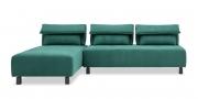 BONO - 2,5 Platz Sofa mit Longchair in Stoff petrol