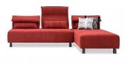 BONO - 2,5 Platz Sofa mit Longchair in Stoff Bronx bordeaux