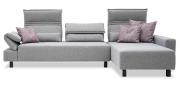 BONO - 2,5 Platz Sofa mit Longchair in Stoff Paris Anthracite hellgrau mit Zierkissen