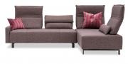 BONO - 2,5 Platz Sofa mit Longchair in Stoff Fine Prima braun meliert