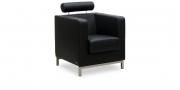 CARO - Sessel mit Kopfstütze in schwarzem Leder