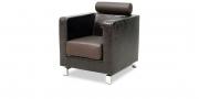 CARO - Sessel mit Kopfstütze in Kunstleder Reptiloptik dunkelbraun glänzend, Sitz und Kopfstütze in Leder braun