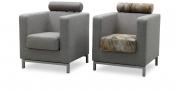 CARO - Sessel mit Kopfstütze in grau-beigem Stoff - in Kombination mit Kuhfell