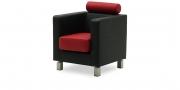 CARO - Sessel mit Kopfstütze in schwarzem Kunstleder in Kombination mit Echtleder rot