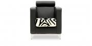 CARO - Sessel mit Kopfstütze in schwarzem Leder in Kombination mit Kuhfell in Zebraoptik