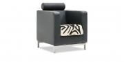 CARO - Sessel in Leder schwarz mit Sitz in Zebraoptik