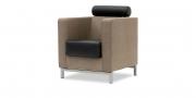 CARO - Sessel mit Kopfstütze in Kunstleder in Perlrochenoptik hellbraun, Sitz und Kopfstütze Leder Rustik schwarz
