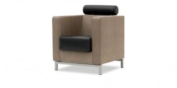 CARO - Sessel mit Kopfstütze in Kunstleder in Perlrochenoptik hellbraun - Sitz und Kopfstütze Leder Rustik schwarz