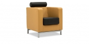 CARO - Sessel im Leder Jumbo Kork und Kopfrolle mit Sitzkissen in Leder Jumbo schwarz