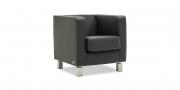 CARO - Sessel ohne Kopfrolle in schwarzem Leder Napoli