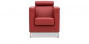 CARO - Sessel mit Kopfrolle in Dickleder Classic kaminrot
