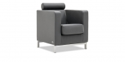 CARO - Sessel mit Kopfrolle in Leder dunkelgrau