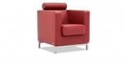 CARO - Sessel mit Kopfrollein in Leder rot