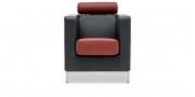 CARO - Sessel in Leder Silver schwarz Kopfrolle und Sitz in Leder Silver marone