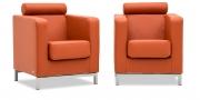 CARO - Sessel mit Kopfrolle in Leder Jumbo arancia orange