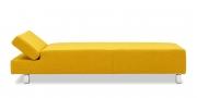CENTO - Liegesofa mit verstellbarer Kopflehne in Stoff gelb