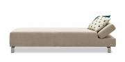 CENTO - Liegesofa mit klappbarem Kopfteil in Stoff beige