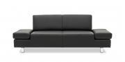 CENTO - 2 Platz Sofa im schwarzen Leder mit Effektnaht