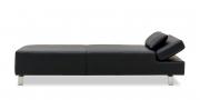 CENTO - Liegesofa mit verstellbarem Kopfteil in Leder schwarz