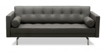CHESTER - 2,5 Platz Sofa in Leder anthrazit mit Kissenrollen