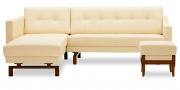 CHESTER - 2 Platz Sofa mit Longchair in weißem Leder