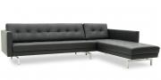CHESTER - 2,5 Platz Sofa mit Longchair in schwarzem Leder