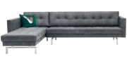 CHESTER - 2,5 Platz Sofa mit Longchair in Leder Dakar Wildlife anthrazit
