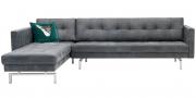 CHESTER - 2,5 Platz Sofa mit Longchair in Leder Dakar Wildlife anthrazit