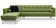 CHESTER - 2,5 Platz Sofa mit Longchair in Leder Toledo apple green