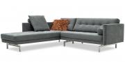 CHESTER - Sofa mit Longchair in Sonderlänge im grauen Mikrofaserstoff Alcantara chic grey