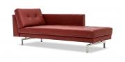 CHESTER - Longchair in Leder Rustik Kirsche rot