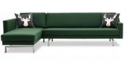 CHESTER - 2,5 Platz Sofa mit Longchair in Sonderlänge in Wollstoff dunkelgrün