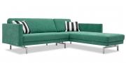 CHESTER - 2 Platz Sofa mit Longchair ohne Knopfheftung in grünen Stoff mit Zierkissen