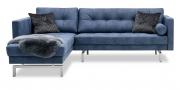 CHESTER - 2 Platz Sofa mit Longchair in Stoff Sonnhaus Rho blau