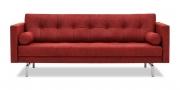 CHESTER - 2,5 Platz Sofa in Stoff Sonnhaus Vintage Style Buffalo bordeaux mit Kissenrollen