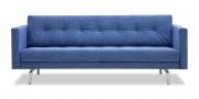 CHESTER - 2,5 Platz Sofa mit Knopfheftung in Alcantara blau