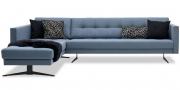 CHESTER - 2,5 Platz Sofa mit Longchair in Wollstoff Comfort grau blau
