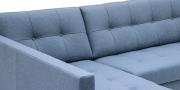 CHESTER - Detailbild der Knopfheftung in Wollstoff Comfort grau blau