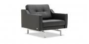 CHESTREFIELD - Sessel mit Knopfheftung in Leder schwarz