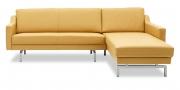 CHESTERFIELD - 2 Platz Sofa mit Longchair ohne Knopfheftung in Leder Napoli natur