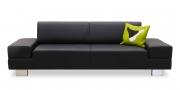 CORA - 2,5 Platz Sofa in schwarzem Leder
