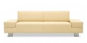 CORA - 2,5 Platz Sofa in Leder Napoli creme-beige mit Effektnaht